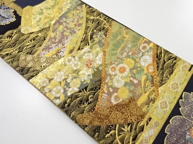 本金巻物に草花模様織り出し袋帯【リサイクル】【中古】【着】 宗sou