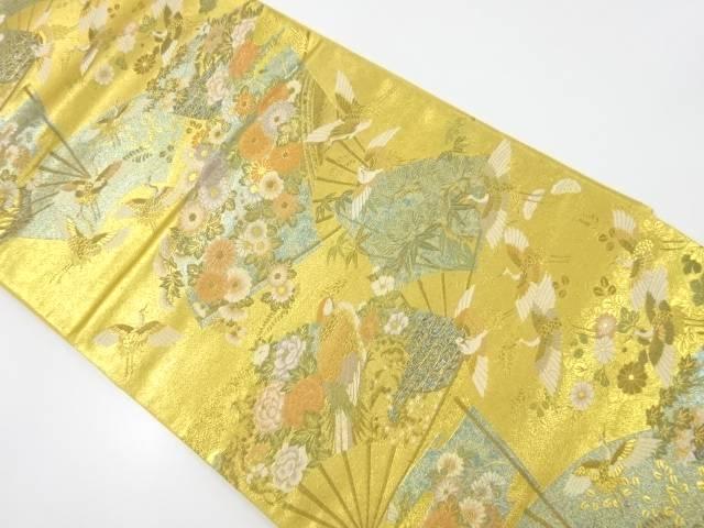 本金扇に花鳥模様織出袋帯【リサイクル】【中古】【着】 宗sou
