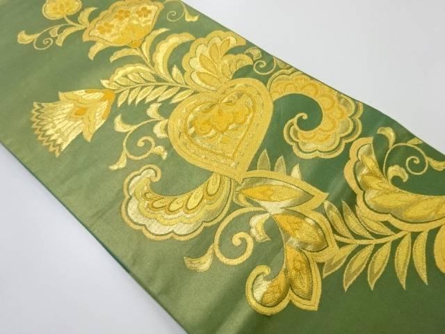 本金唐花模様織り出し袋帯【リサイクル】【中古】【着】 宗sou