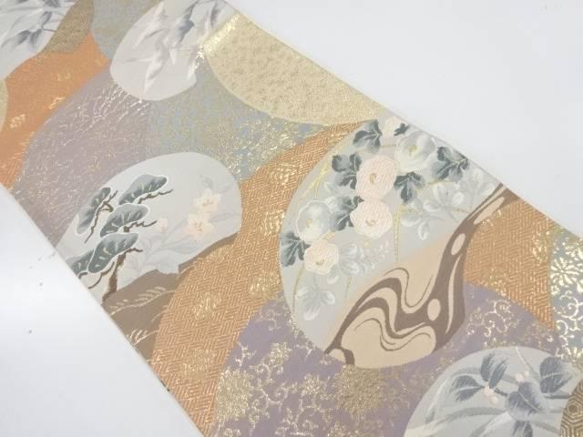 松鶴に草花模様織出し袋帯【リサイクル】【中古】【着】 宗sou