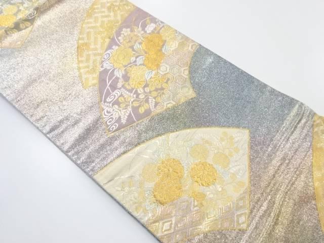 金糸地紙に牡丹・菊・萩模様織り出し袋帯【リサイクル】【中古】【着】 宗sou
