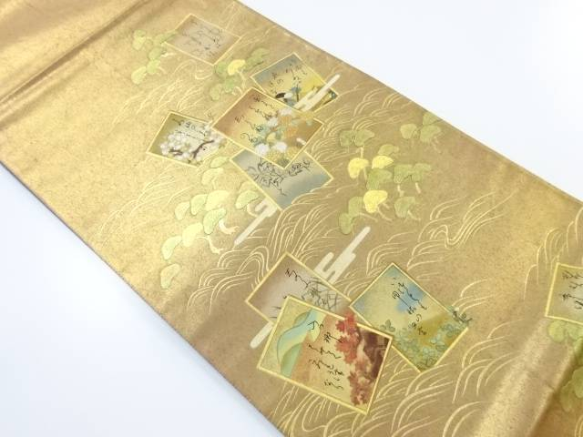 作家物 本金箔百人一首模様袋帯【リサイクル】【中古】【着】 宗sou