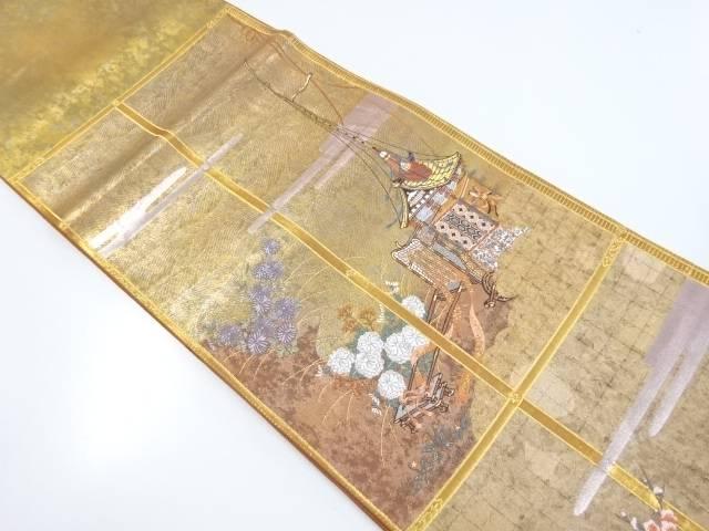 本金格子に鉾車・菊模様織出し袋帯【リサイクル】【中古】【着】 宗sou