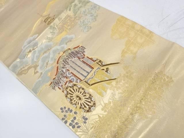 御所車に寺院風景模様織出し袋帯【リサイクル】【中古】【着】 宗sou