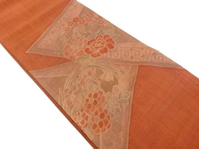 手織り真綿紬汕頭蘇州刺繍牡丹に花丸文袋帯【リサイクル】【中古】【着】 宗sou