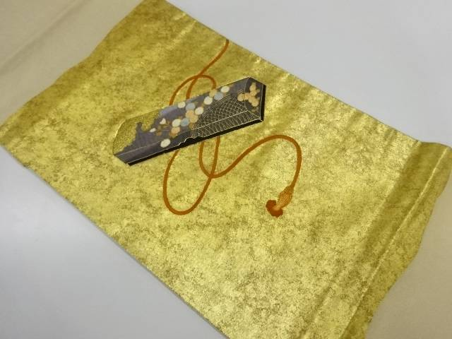 引箔短冊箱に万寿菊・光悦垣模様刺繍袋帯【リサイクル】【中古】【着】 宗sou