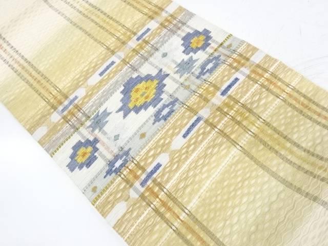 すくい織抽象花模様織出し袋帯【リサイクル】【中古】【着】 宗sou