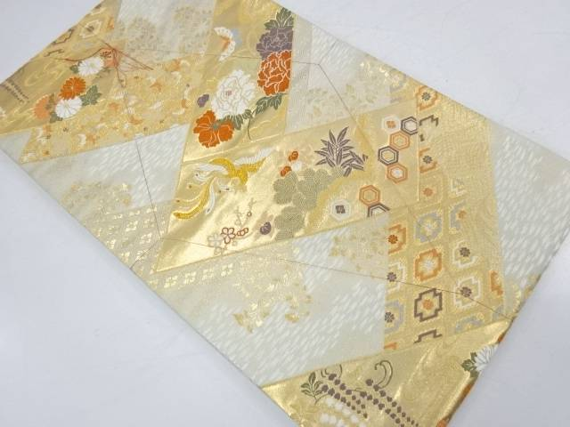 未使用品 蝶に花鳥模様織出し袋帯【リサイクル】【着】 宗sou