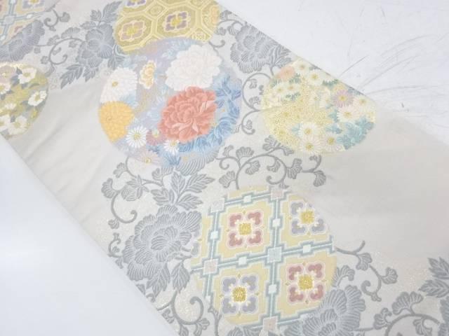 草花に花丸模様織出し袋帯【リサイクル】【中古】【着】 宗sou