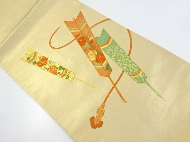 引箔矢羽根に桐・菊模様刺繍袋帯【リサイクル】【中古】【着】 宗sou