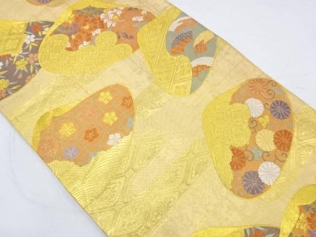 貝合わせに花・古典柄模様織出し袋帯【リサイクル】【中古】【着】 宗sou