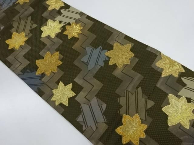 KOSHINO HIKORO 楓に抽象模様織出し袋帯【リサイクル】【中古】【着】 宗sou