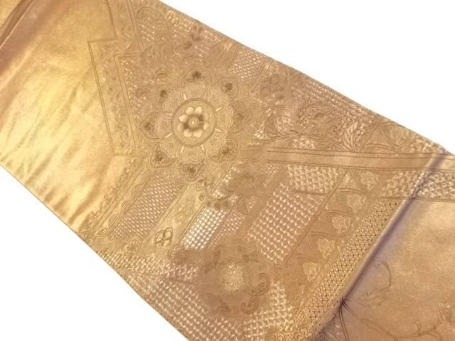 引箔汕頭蘇州刺繍華紋更紗模様袋帯【リサイクル】【中古】【着】 宗sou