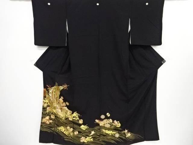 本金宝船模様刺繍留袖(比翼付き)【リサイクル】【中古】【着】 宗sou