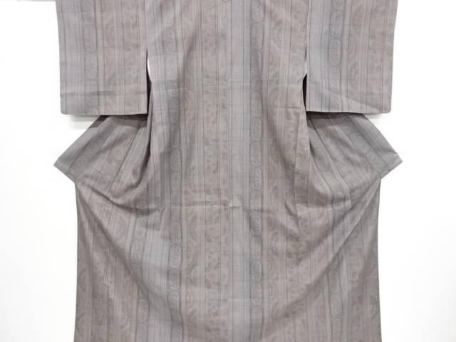 縞に花更紗模様織出縦節紬着物【リサイクル】【中古】【着】 宗sou