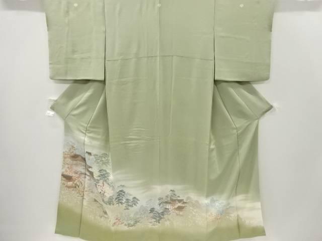 寿光織寺院風景模様織り出し三つ紋色留袖(比翼付き)【リサイクル】【中古】【着】 宗sou