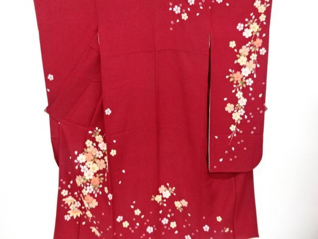 桜模様振袖(重ね衿付き) 長襦袢・袋帯セット【リサイクル】【中古】【着】 宗sou