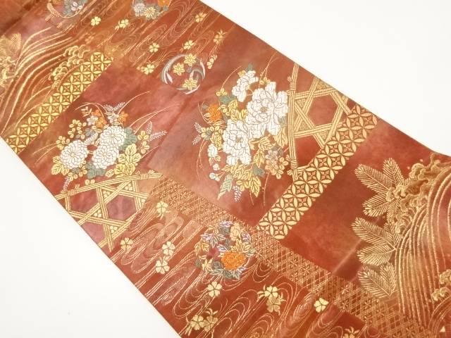 金糸蛇籠に菊・牡丹模様織り出し袋帯【リサイクル】【中古】【着】 宗sou