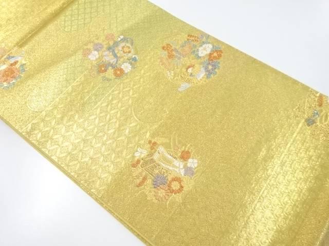 本金箔花鳥に鼓・御所車模様織り出し袋帯【リサイクル】【中古】【着】 宗sou