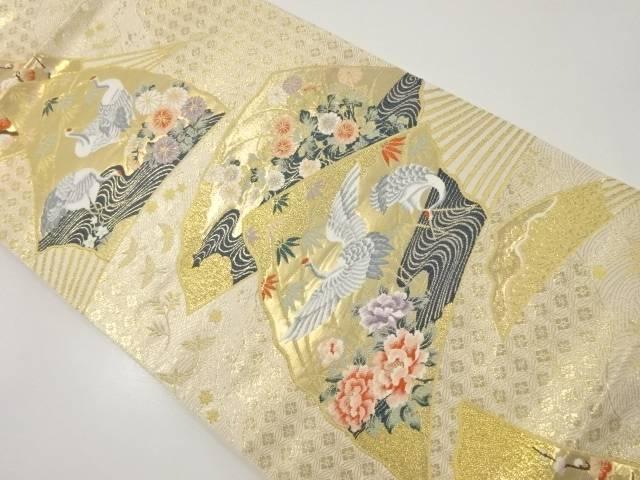 本金箔扇面に花鳥模様織り出し袋帯【リサイクル】【中古】【着】 宗sou