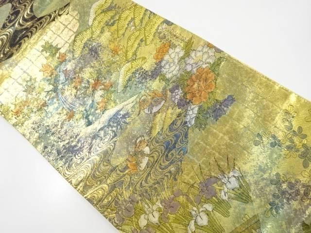 本金観世水に花鳥模様織り出し袋帯【リサイクル】【中古】【着】 宗sou