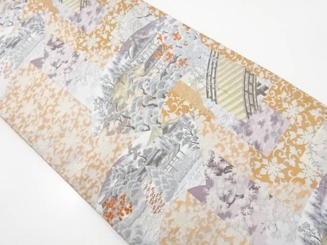 地紙に寺院風景模様織り出し全通袋帯【リサイクル】【中古】【着】 宗sou