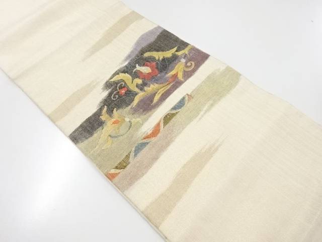 明綴れ唐花模様織り出し袋帯【リサイクル】【中古】【着】 宗sou