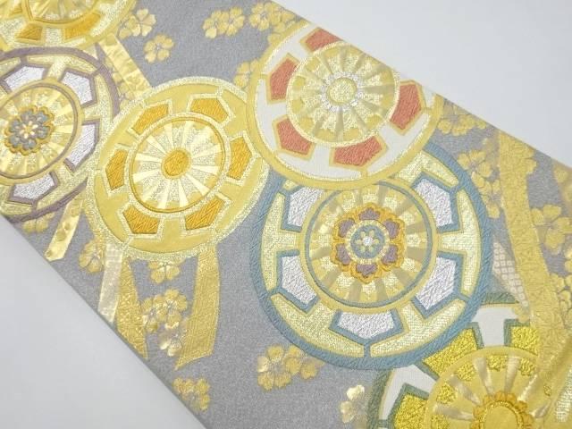 金銀糸源氏車に花模様織り出し袋帯【リサイクル】【中古】【着】 宗sou