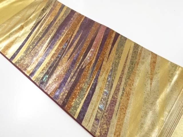 引箔螺鈿斜め縞模様織り出し袋帯【リサイクル】【中古】【着】 宗sou