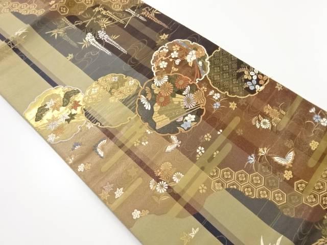 本金雪輪に花扇・蝶模様織り出し袋帯【リサイクル】【中古】【着】 宗sou