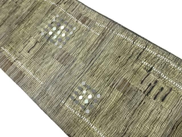 紗紬幾何学模様織り出し袋帯【リサイクル】【中古】【着】 宗sou