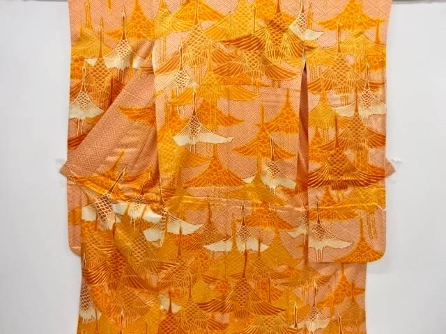 金彩疋田に群鶴模様刺繍振袖・袋帯セット【リサイクル】【中古】【着】 宗sou