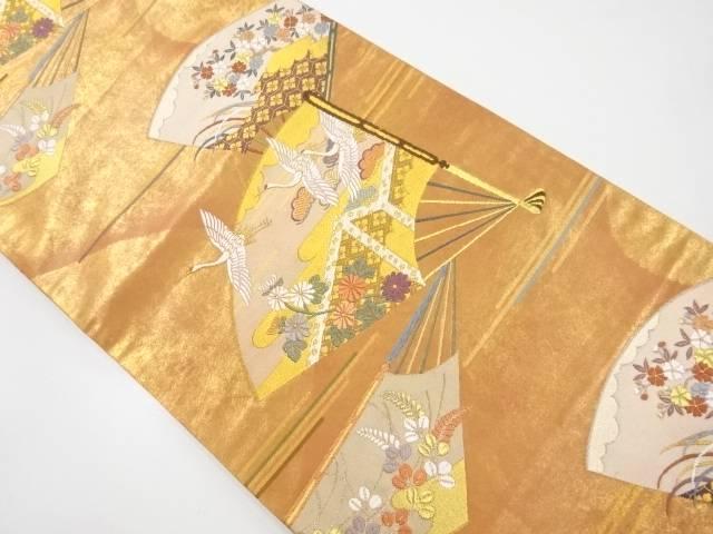 本金扇面に花鳥模様織出袋帯【リサイクル】【中古】【着】 宗sou