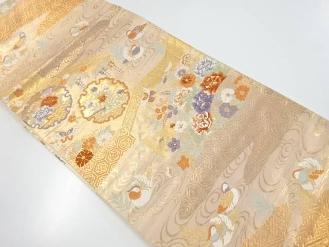 屏風に花鳥・蝶模様織り出し袋帯【リサイクル】【中古】【着】 宗sou