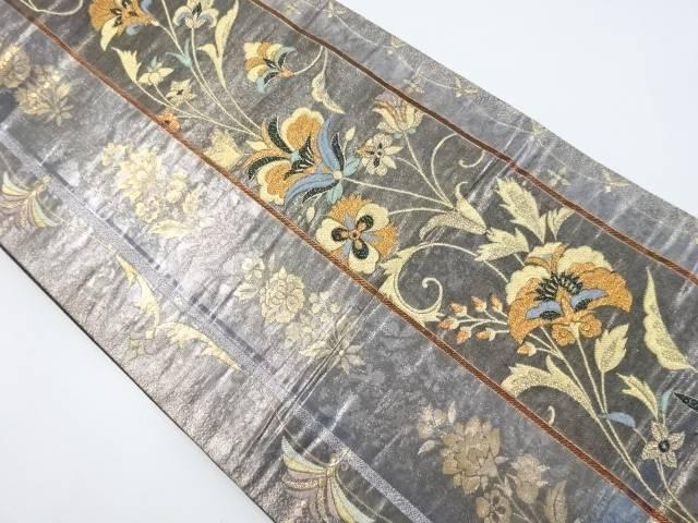 金糸縞に唐花模様織り出し袋帯【リサイクル】【中古】【着】 宗sou