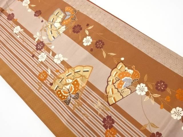 金糸枝垂れ桜に桧扇蝶模様織出袋帯【リサイクル】【中古】【着】 宗sou