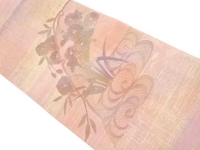汕頭蘇州刺繍観世水に雪輪・菊・桜模様袋帯【リサイクル】【中古】【着】 宗sou