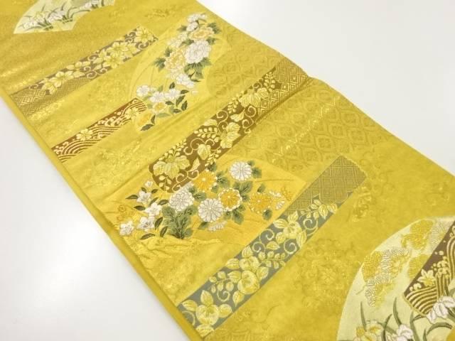 未使用品 本金箔地紙に草花模様織り出し袋帯【リサイクル】【着】 宗sou