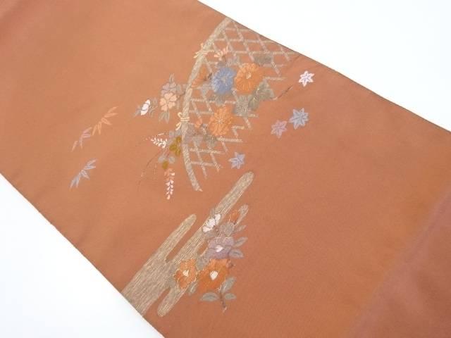 光悦垣に菊紅葉模様織出袋帯【リサイクル】【中古】【着】 宗sou