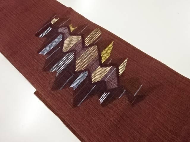紗紬変わり織り幾何学模様織り出し袋帯【リサイクル】【中古】【着】 宗sou