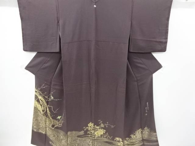 作家物 寿光織鶯歌幸梅図織り出し一つ紋色留袖【リサイクル】【中古】【着】 宗sou
