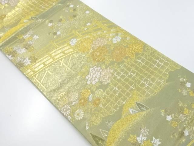 本金橋に牡丹楓模様織出袋帯【リサイクル】【中古】【着】 宗sou