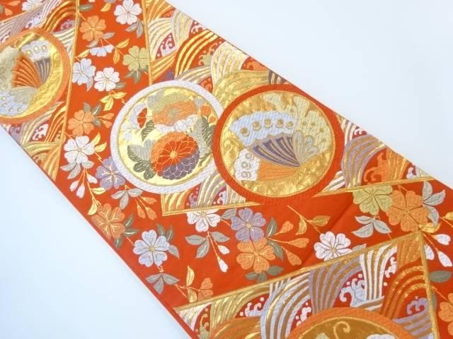 荒波に蝶・枝垂れ桜模様織出し袋帯【リサイクル】【中古】【着】 宗sou