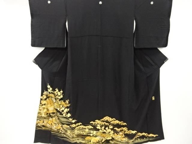 和田光正作 箔置寺院に鴛鴦草花模様留袖(比翼付き)【リサイクル】【中古】【着】 宗sou