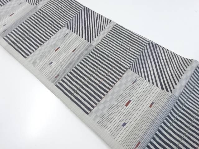 未使用品 幾何学に横段斜め縞模様織出袋帯【リサイクル】【着】 宗sou