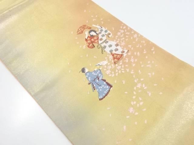 未使用品 じゅらく製 森田曠平「惜春」織出袋帯(未仕立て)【リサイクル】【着】 宗sou
