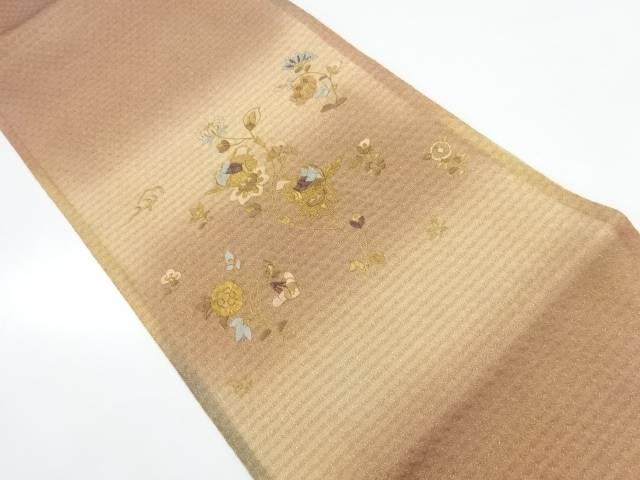 花鳥模様刺繍暈し袋帯【リサイクル】【中古】【着】 宗sou