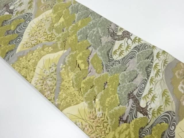 松笹に草花模様織出し袋帯【リサイクル】【中古】【着】 宗sou