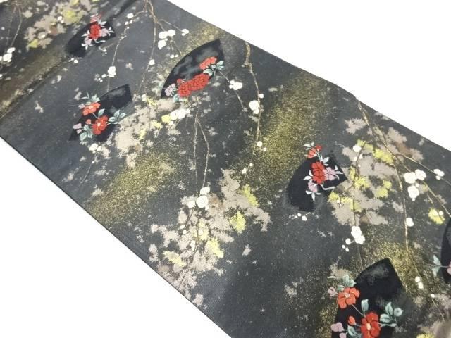 地紙に花・枝垂れ梅模様織出し袋帯【リサイクル】【中古】【着】 宗sou