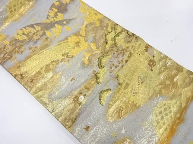 松竹梅に橋風景模様織出し袋帯【リサイクル】【中古】【着】 宗sou